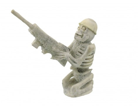 Zuni Skeleton with Gun Carving in Deer Antler, Signed(EN)