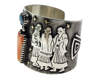 Load image into Gallery viewer, Arland Ben, Bracelet, Squaw Dance, Bisbee Turquoise, 14k, Silver, Navajo, 6.5