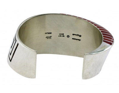 Load image into Gallery viewer, Lonn Parker, Bracelet, Red Mediterranean Coral, Inlay, Silver Overlay,Navajo,6.5