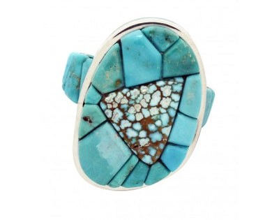 Load image into Gallery viewer, Bryon Yellowhorse, Ring, Number Eight Turquoise, Inlay, Navajo Handmade, 6.5