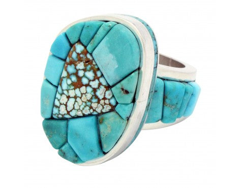 Bryon Yellowhorse, Ring, Number Eight Turquoise, Inlay, Navajo Handmade, 6.5