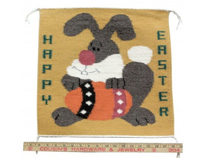 Load image into Gallery viewer, Joann Begay, Pictorial Easter Bunny Rug, Navajo Handwoven, 17in x 17in
