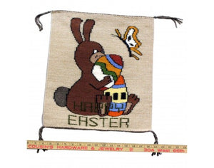 Gloria Begay, Easter Bunny Rug, Navajo Handwoven, 16.75in x 15in