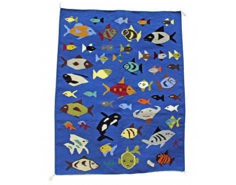 Wenora Joe, Pictorial Fish Rug, Navajo Handwoven, 34 in x 43 in