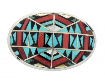 Load image into Gallery viewer, Zuni Handmade, Buckle, Jet, Shell, Mediterranean Coral, Turquoise, Silver, 1 in