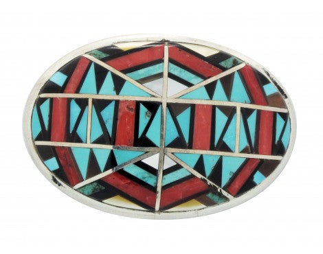 Zuni Handmade, Buckle, Jet, Shell, Mediterranean Coral, Turquoise, Silver, 1 in