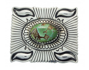 Stacie Gishal, Buckle, Royston Turquoise, Sterling Silver, Navajo Handmade, 1.5
