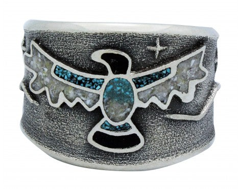 Monty Claw, Bracelet, Eagle, Chip Inlay, Tufa, Sterling Silver, Navajo Made, 6 1/2