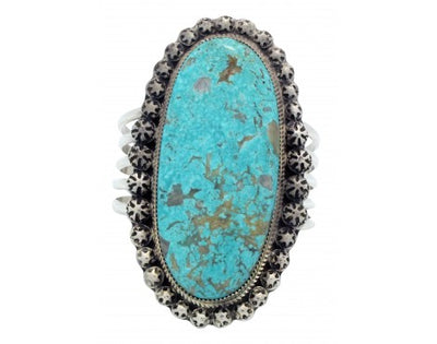 Load image into Gallery viewer, Ray Nez, Bracelet, Turquoise Mountain, Wide, Sterling Silver, Navajo Made, 6 3/4