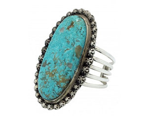 Ray Nez, Bracelet, Turquoise Mountain, Wide, Sterling Silver, Navajo Made, 6 3/4