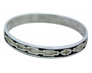 Dan Jackson, Bangle, Sterling Silver, Overlay, Textured, Navajo Handmade, 7.5 in