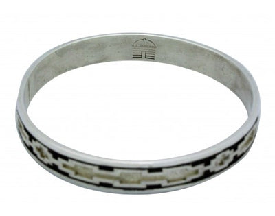 Load image into Gallery viewer, Dan Jackson, Bangle, Sterling Silver, Overlay, Textured, Navajo Handmade, 7.5 in