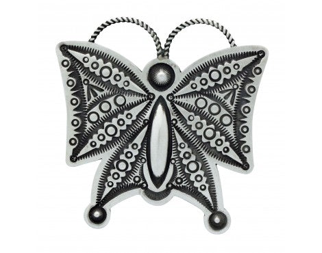 Herman Smith, Pin, Pendant, Butterfly, Stamping, Silver, Navajo Handmade, 2.75in