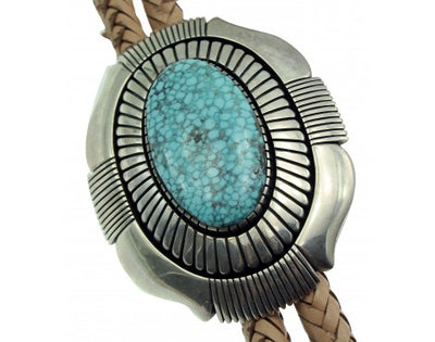 Load image into Gallery viewer, Calvin Martinez, Bolo, Kingman Turquoise, Shadowbox, Sterling Silver, Navajo, 44