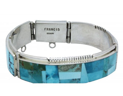 Load image into Gallery viewer, Melvin Francis, Eugene Chee, Link Bracelet, Turquoise, Silver, Navajo Made, 6.75