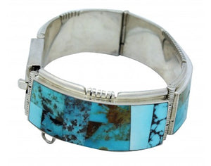 Melvin Francis, Eugene Chee, Link Bracelet, Turquoise, Silver, Navajo Made, 6.75