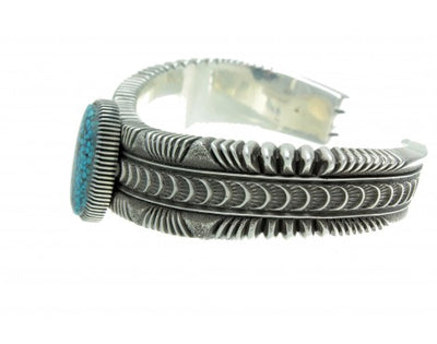 Load image into Gallery viewer, Ron Bedonie, Spider Web Kingman Turquoise, Stamped Sterling Bracelet, Navajo