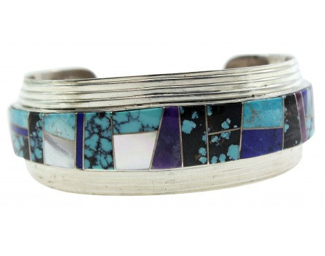 Melvin Francis, Eugene Chee, Cuff, Multi Stone Inlay, Layered Silver, Navajo,6.5