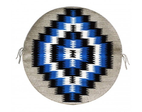 Rose Gorman, Circular Eye Dazzler Rug, Navajo Handwoven, 22in dia