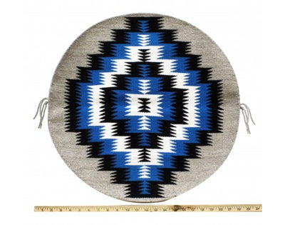 Load image into Gallery viewer, Rose Gorman, Circular Eye Dazzler Rug, Navajo Handwoven, 22in dia