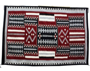 Cleo Johnson, Storm Pattern Rug, Navajo Handwoven, 92 in x 65.5 in