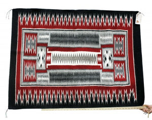 Anna Gray, Storm Pattern Rug, Navajo Handwoven, 48 in x 36 in