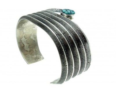Load image into Gallery viewer, Aaron Anderson, Tufa Cast Bracelet, Kingman Turquoise, Navajo, Signed