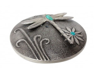 Darryl Dean Begay, Seed Pot, Tufa Cast Art, Turquoise, Dragonfly, Navajo, 1.5in