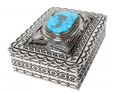 Load image into Gallery viewer, Gary Reeves, Sterling Silver Box, Morenci Turquoise, Stamping, Navajo Made, 2in