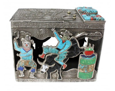 Load image into Gallery viewer, Lester James, Tufa Cast Box, Lid, Cowboy Up, Sterling Silver, 14k, Navajo, 4.25