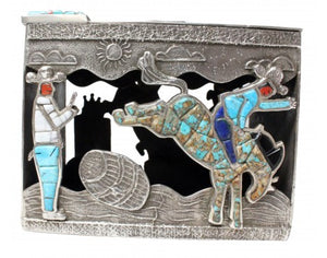 Lester James, Tufa Cast Box, Lid, Cowboy Up, Sterling Silver, 14k, Navajo, 4.25
