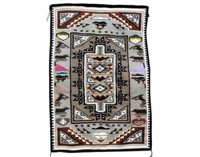 Load image into Gallery viewer, Winnie Yazzie, Pictorial Rug, Navajo Handwoven, 62 in x 41.75 in