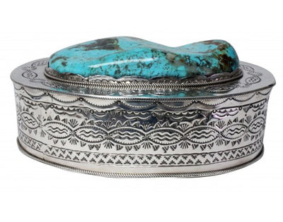 Load image into Gallery viewer, Ben Begay, Sterling Silver Box, Kingman Turquoise, 1780 Carats, Navajo Made, 3.5