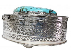Ben Begay, Sterling Silver Box, Kingman Turquoise, 1780 Carats, Navajo Made, 3.5