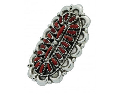 Load image into Gallery viewer, Justin Wilson, Ring, Mediterranean Coral, Cluster, Silver, Navajo Handmade, 8
