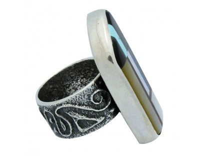 Load image into Gallery viewer, Monty Claw, Ring, Tufa Cast, Multi Stone Inlay, Silver, Navajo Handmade, 9