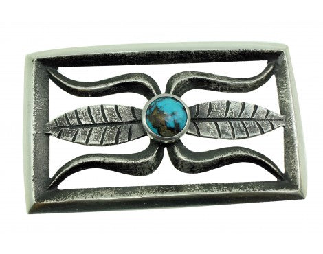 Darryl Dean Begay, Buckle, Tufa Cast, Bisbee Turquoise, Silver, Navajo Made, 1.5