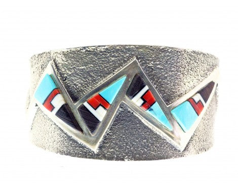 Aaron Anderson, Tufa Cast Bracelet, Multi-Stone Inlay, Navajo Made