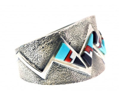 Load image into Gallery viewer, Aaron Anderson, Tufa Cast Bracelet, Multi-Stone Inlay, Navajo Made