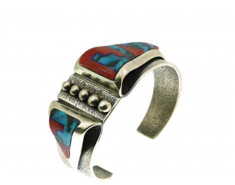 Aaron Anderson, Tufa Cast Bracelet, Contemporary Fold Over, Inlay