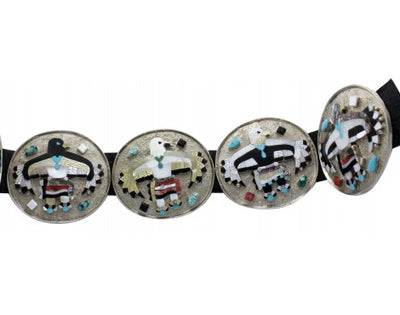 Load image into Gallery viewer, Kendall Shebola, Concho Belt, Eagle Dancer, Sterling Silver, Zuni Handmade, 47in