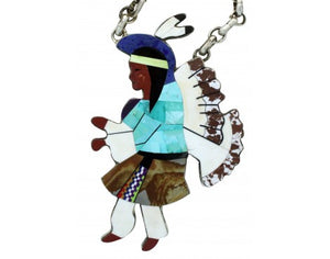 Calvin Desson, Necklace, Indian Dancer, Inlay, Silver, Navajo Handmade, 25 in
