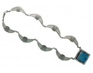 Jonathan Mike, Necklace, Kingman Turquoise, Sterling Silver, Navajo Handmade, 18