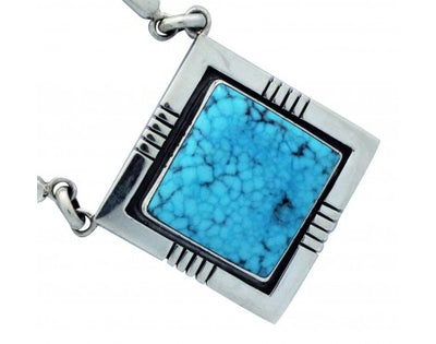 Load image into Gallery viewer, Jonathan Mike, Necklace, Kingman Turquoise, Sterling Silver, Navajo Handmade, 18