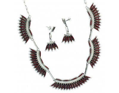 Load image into Gallery viewer, Lance, Cordelia Waatsa, Necklace, Earrings, Mediterranean Coral, Zuni Made, 22