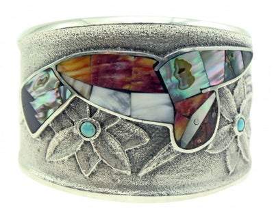 Load image into Gallery viewer, Monty Claw, Tufa Cast Bracelet, Hummingbird, Multi Stone, Navajo Made, 6.5