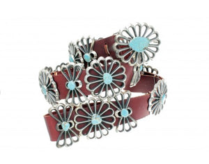 Aaron Anderson, Number Eight Turquoise, Tufa Cast Belt, 20 Pieces