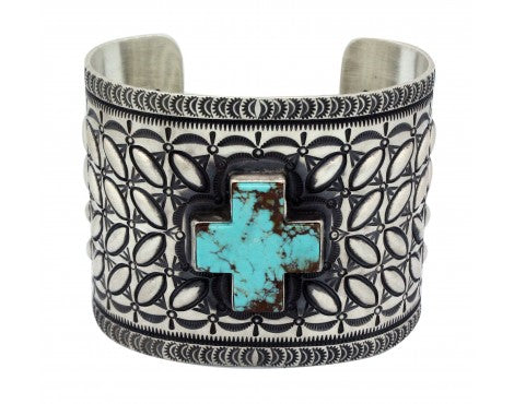 Herman Smith, Bracelet, Four Direction, Sterling Silver, Navajo Handmade, 7.25in