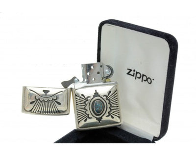 Load image into Gallery viewer, Steven J Begay, Zippo Lighter, Lander Blue Turquoise, Sterling Silver