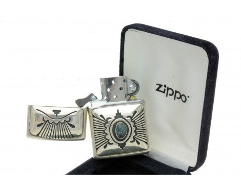 Steven J Begay, Zippo Lighter, Lander Blue Turquoise, Sterling Silver